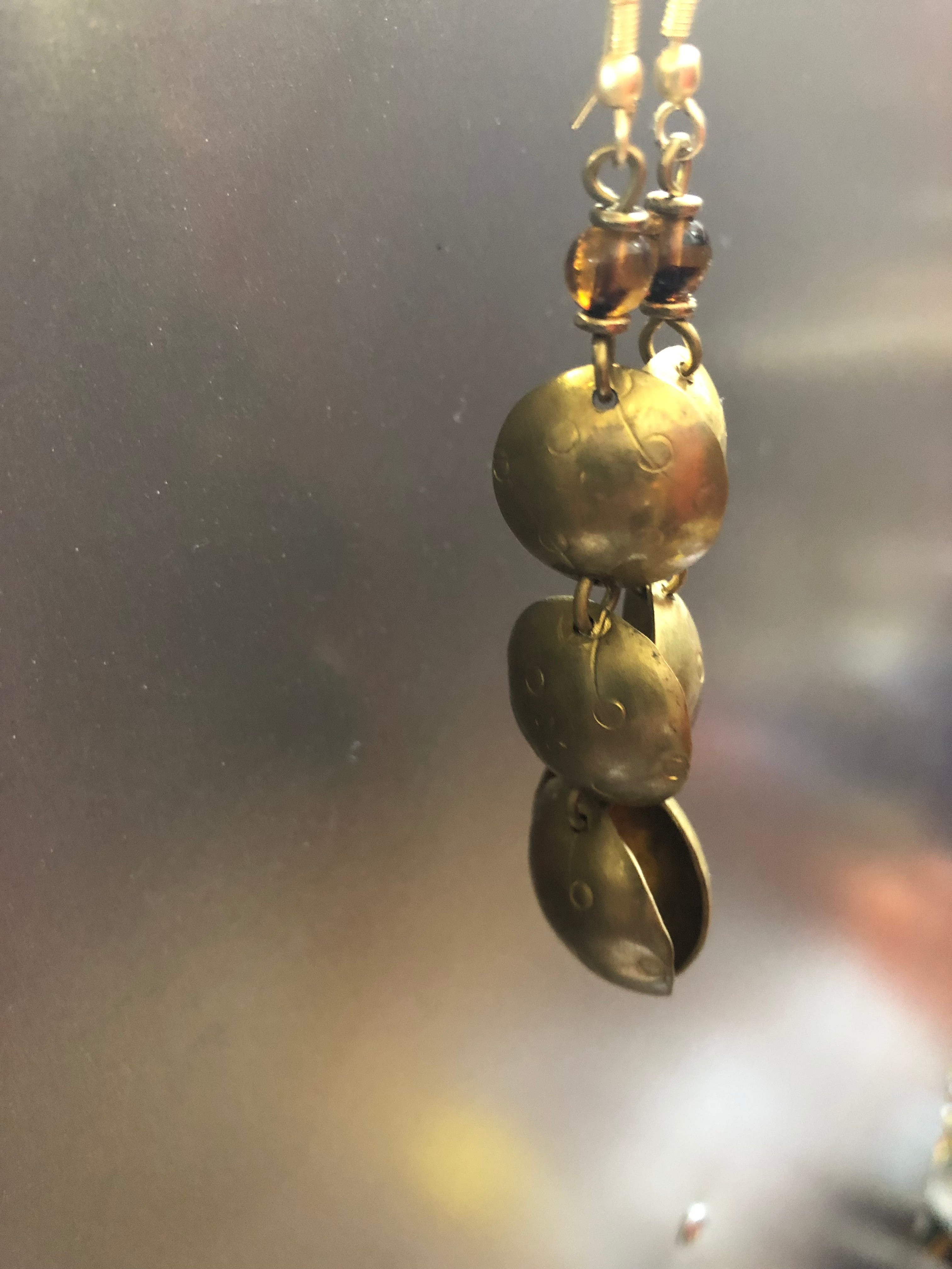 Brass Bowl earrings with varied details