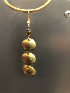 3 Tier Brass bowl earrings with black bead details