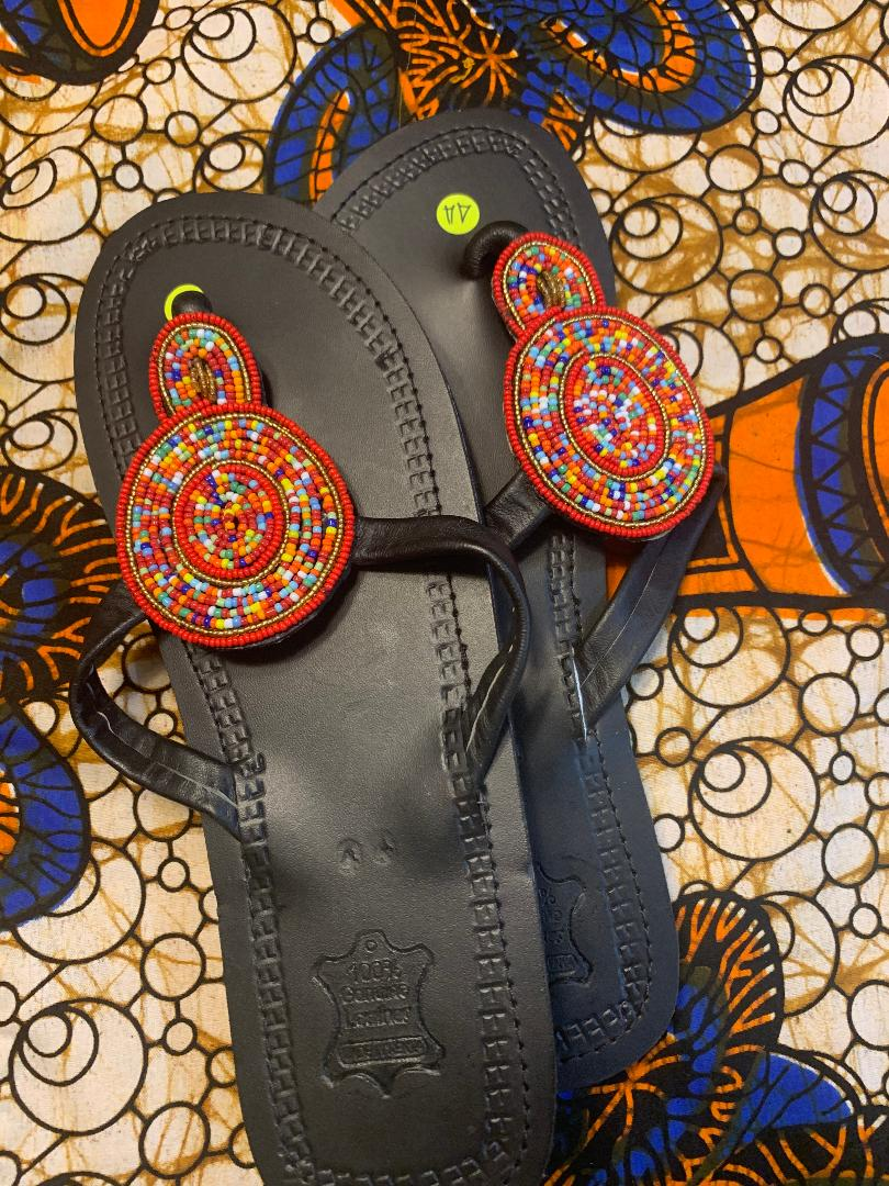 Handmade Brown Leather Sandals Floral Bead detail (Red outline and multi colored inside)