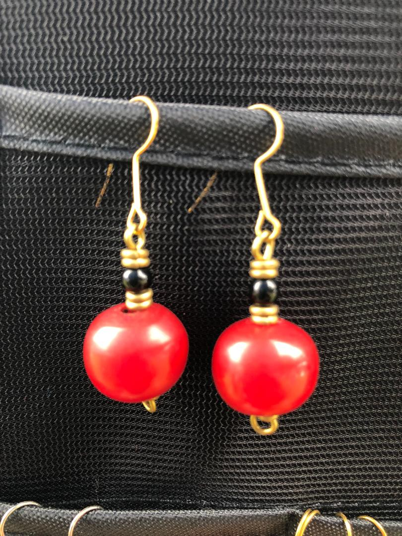 Red Spherical Amberlike Earrings