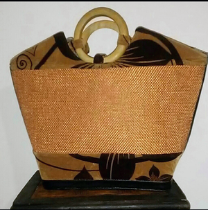 Burlap Tote with Beaded Detail