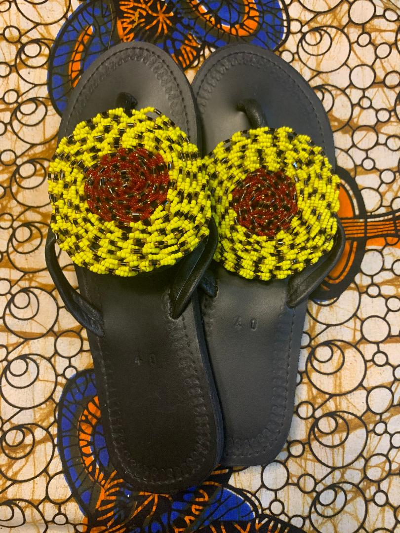 Handmade Leather Sandals Circular Bead (Yellow Outer Circle and Red Inner Circle)