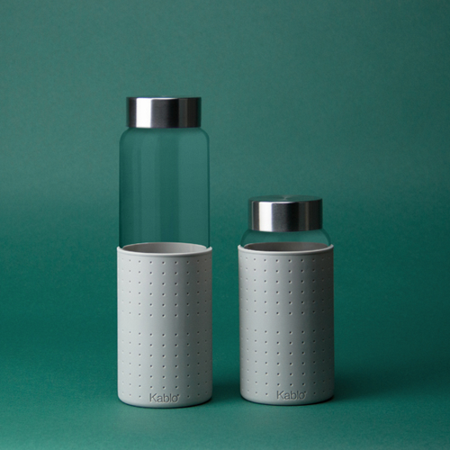 glass bottle with silicone sleeve