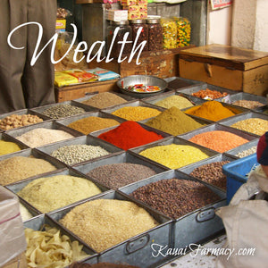 Wealth. Display of food and spice in India