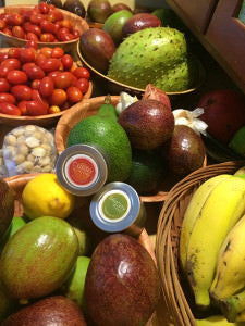 Food and Herbs. Tomatoes, Soursop, Macadamia nuts, Avocado, banana, garlic, lemon