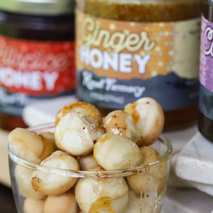 Ginger honey spiced medicinal macadamia nuts