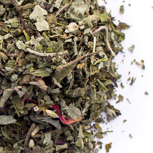 Kauai Farmacy tulsi mint tea detail organic herbal blend loose leaf