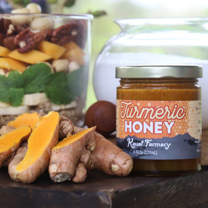 Turmeric honey spiced medicinal breakfast bowl fruit nuts root