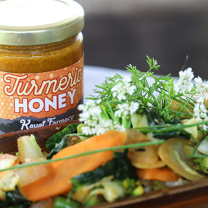 Turmeric honey spiced medicinal root vegetable curry