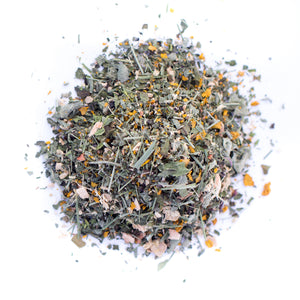 Kauai farmacy wellness organic herbal tea blend loose leaf detail tulsi noni