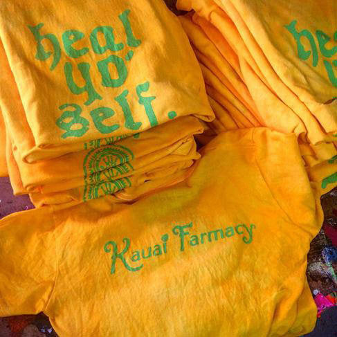 Kauai Farmacy Hea Yo Self hand dyed yellow t-shirt