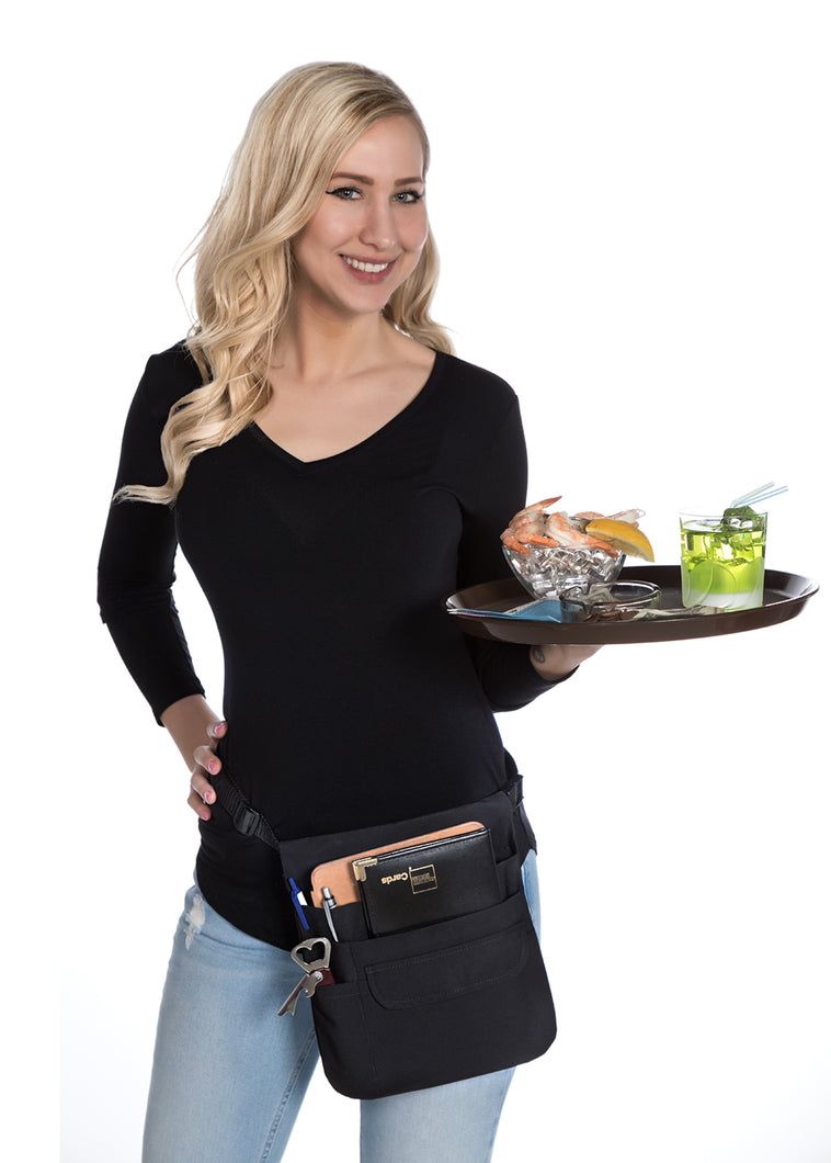 DeLuxe 5 Pocket Tablet/Waitress Money Pouch Apron with Organizing Pockets – Adjustable Web Belt