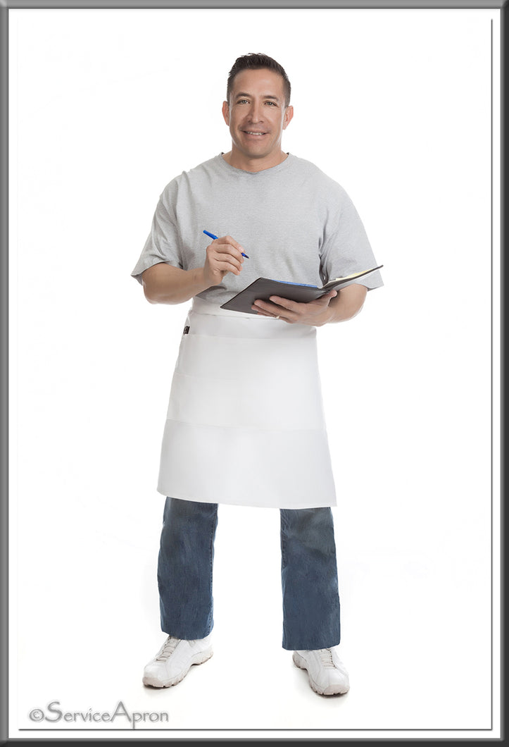 Quality White Restaurant Apron • Medium Bistro Length