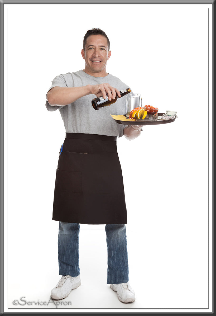 Quality Black Restaurant Apron • Medium  Bistro Length