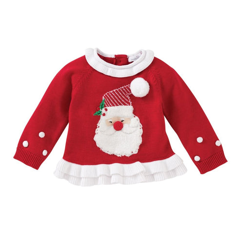 Red Santa Ruffle Sweater by Mud Pie