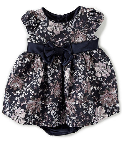 Navy Brocade Floral Dress