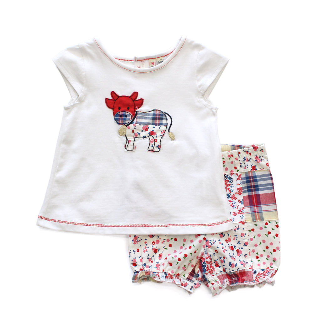 Cow Applique Top & Plaid Bloomer Shorts Set