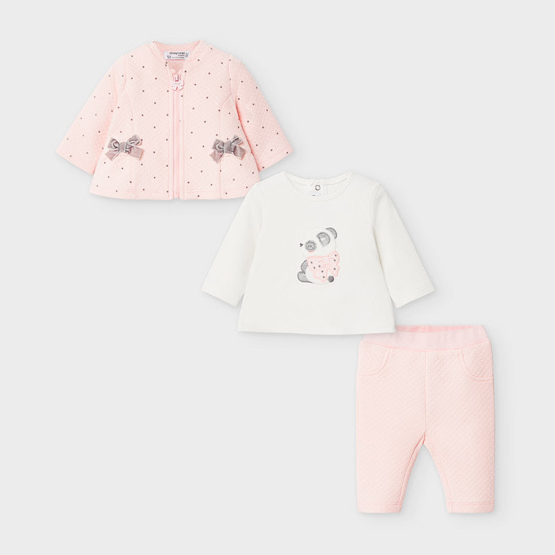 Panda Baby Tracksuit In Rose by Mayoral