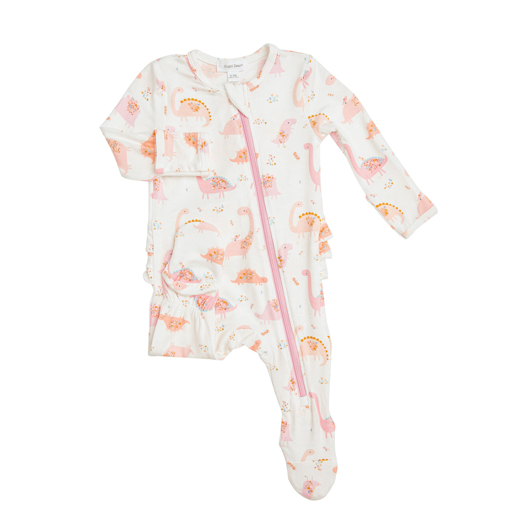 Floral Dino Ruffle Back Footie by Angel Dear