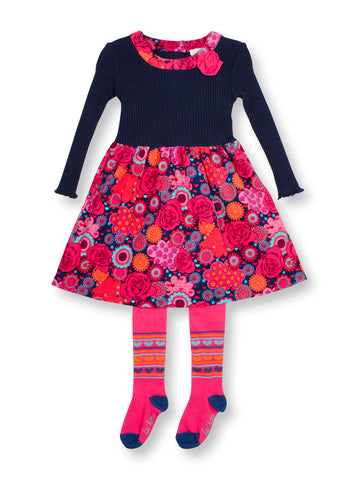 Kaleidoscope Cord Dress & Tights