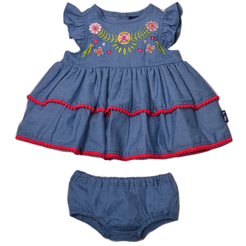 Pom Pom Dress & Diaper Cover