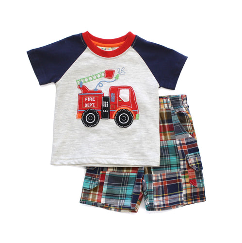 Fire Truck Applique Tee Shirt and Plaid Short Set