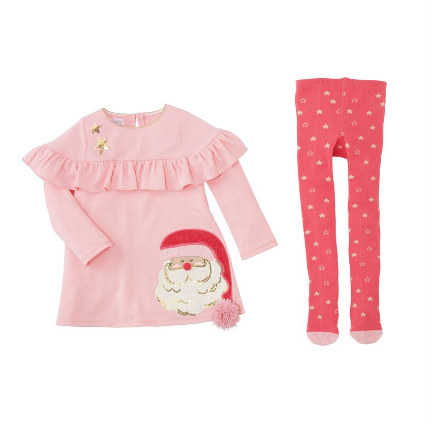 Santa Dress & Tight Set by Mud Pie