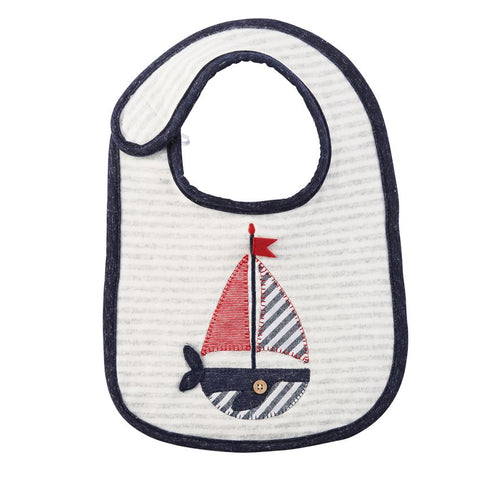 Whale Sailboat Applique Baby Bib