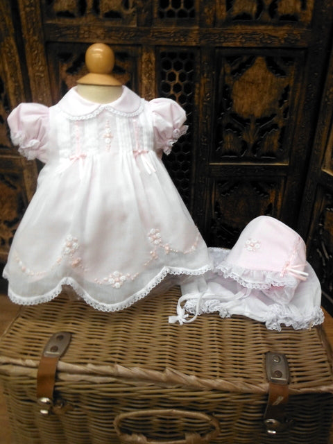 Pink Collared Dress with Elegant Floral Stitching & Bonnet