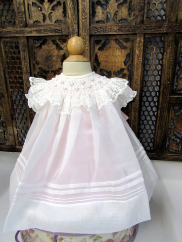 Smocked Ivory & Pink Embroidered Bishop Dress