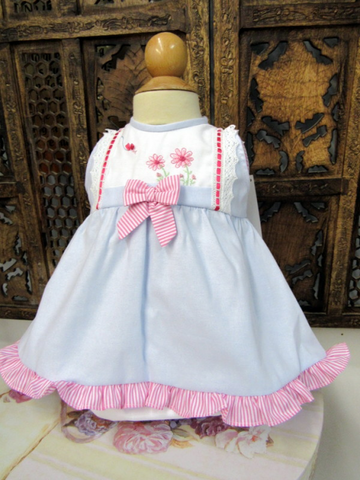 Blue Dress with Pink Stripe, Flowers & Bow by Will'beth