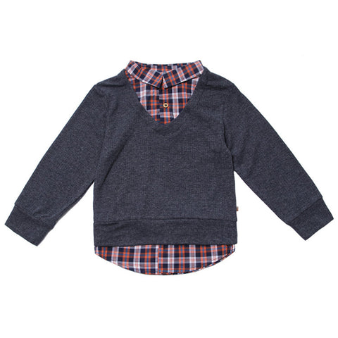 Navy Knit Sweater & Plaid 2Fer Shirt by Fore! Axel & Hudson