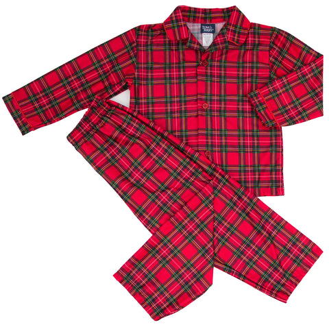 Red Plaid Boy's 2 Piece Pajama Set