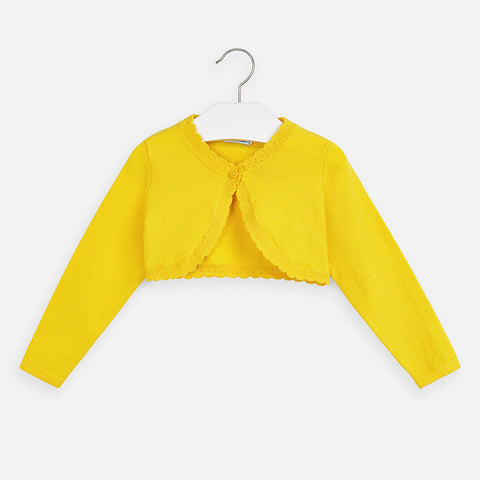 Yellow Basic Knitted Cardigan