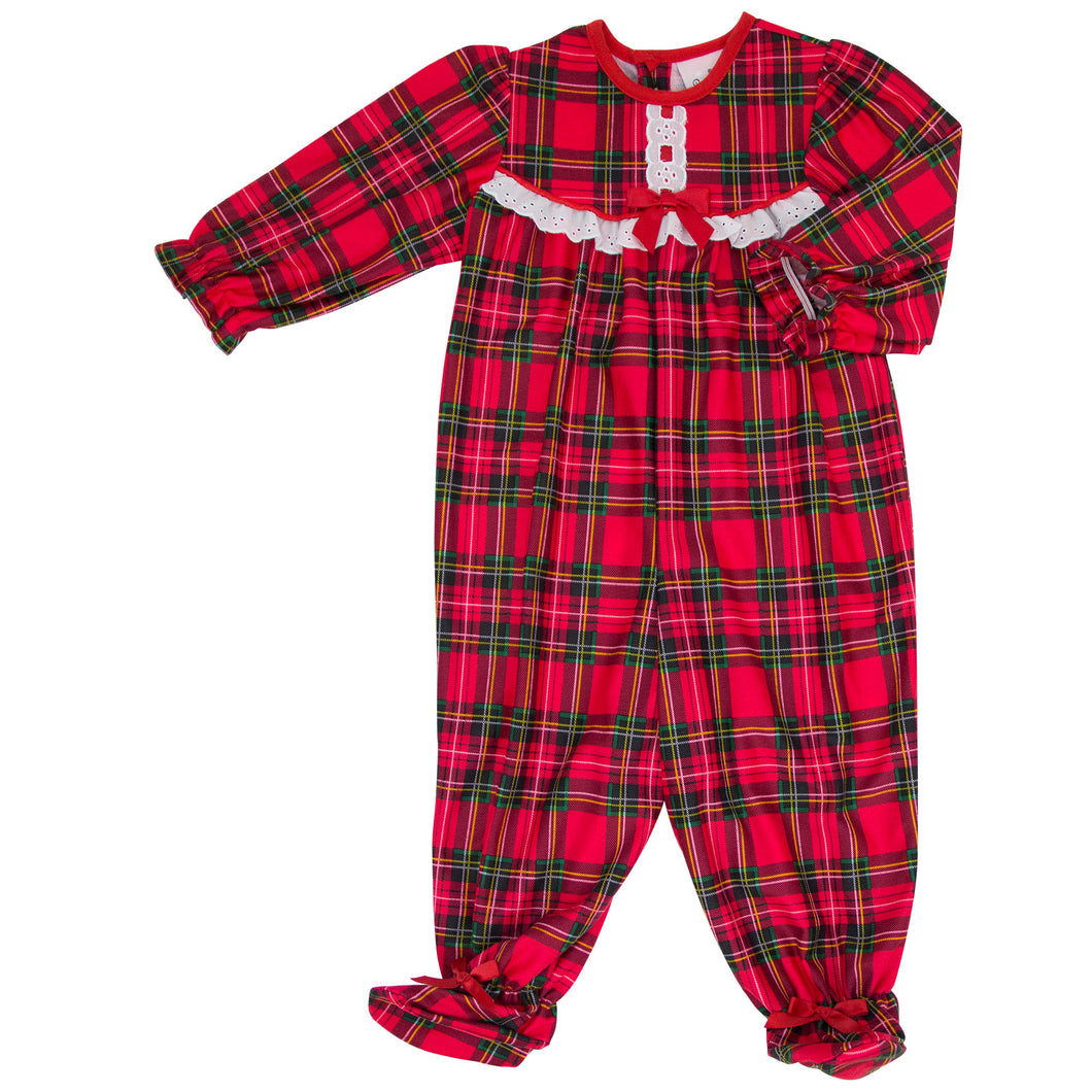 Holiday Red Plaid Ruffled Jumpsuit