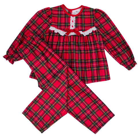 Red Plaid Ruffle 2 Piece Pajama Set