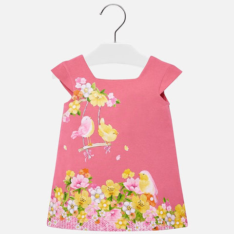 Bird Art Print Dress in Bubblegum