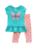 Ruffle Hem Butterfly Applique Tee & Printed Capri Set