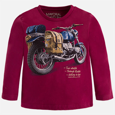 Long Sleeve Motorcycle Tee in Red