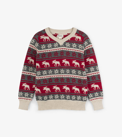 Fair Isle Moose V-Neck Sweater