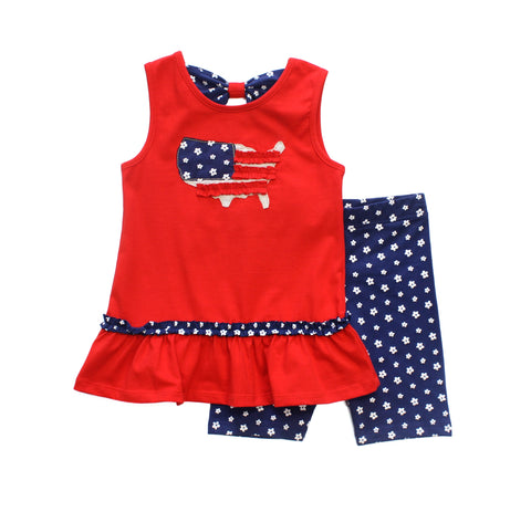 American Applique Ruffle Hem Dress with Shorts Set