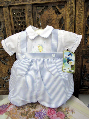 Yellow Ducky Stripe Baby Boys Romper
