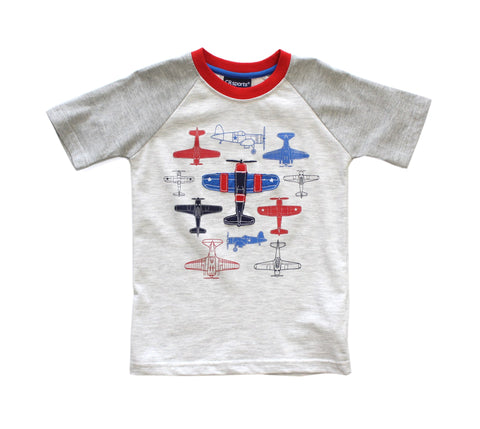 Short Sleeve Airplane Applique T-Shirt