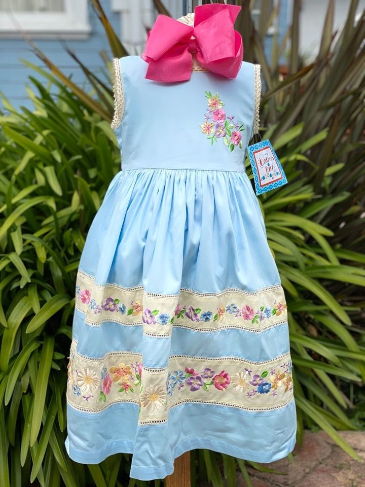 Spring Flower Embroidered Dress by Cotton Kids
