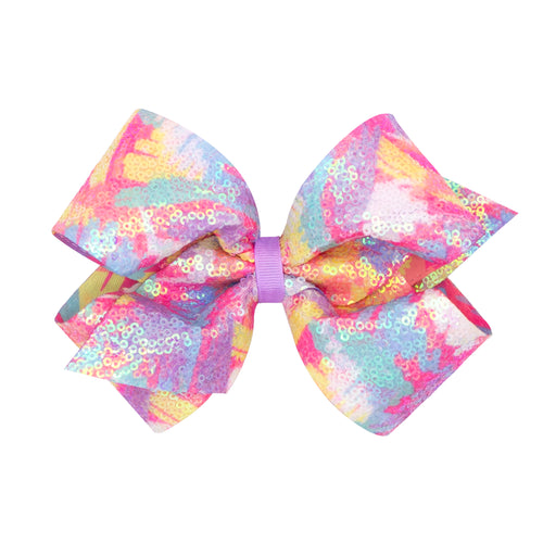 Iridecent Sequin Scribble Print Bow King