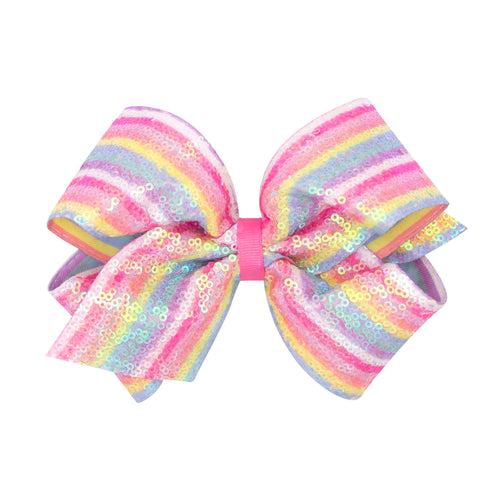 Iridecent Pastel Rainbow Stripe Bow Medium