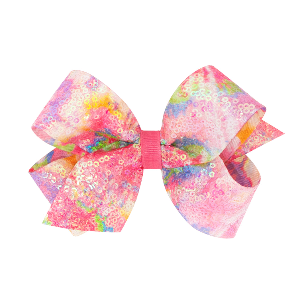Iridecent Sequin Tie Dye Print Bow Medium