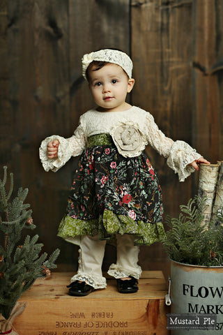 Olivia Dress Set in Holly Vanilla by Mustard Pie