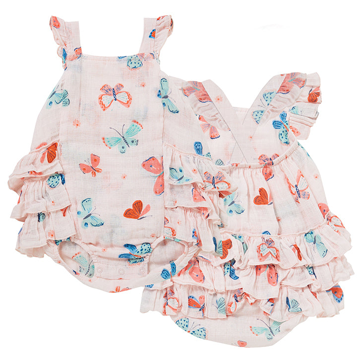 Butterflies Muslin Ruffle Sunsuit Set with Sunhat by Angel Dear