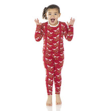 Crimson Kissing Birds Pajama Set by Kickee Pants